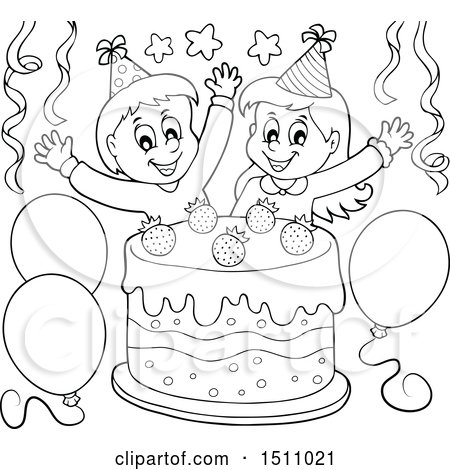 Clipart Birthday Party Black And White.