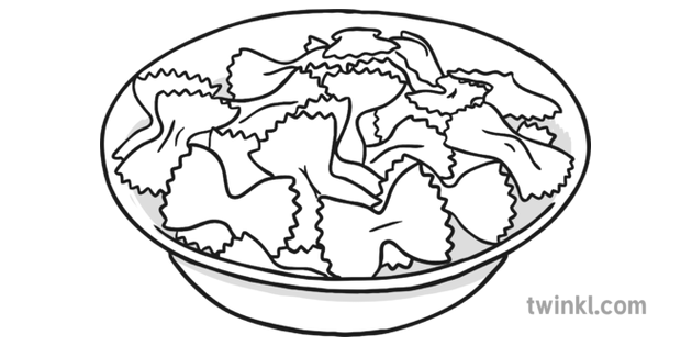 Bowl of Pasta Black and White Illustration.