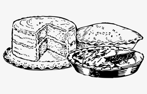 Free Dessert Black And White Clip Art with No Background.
