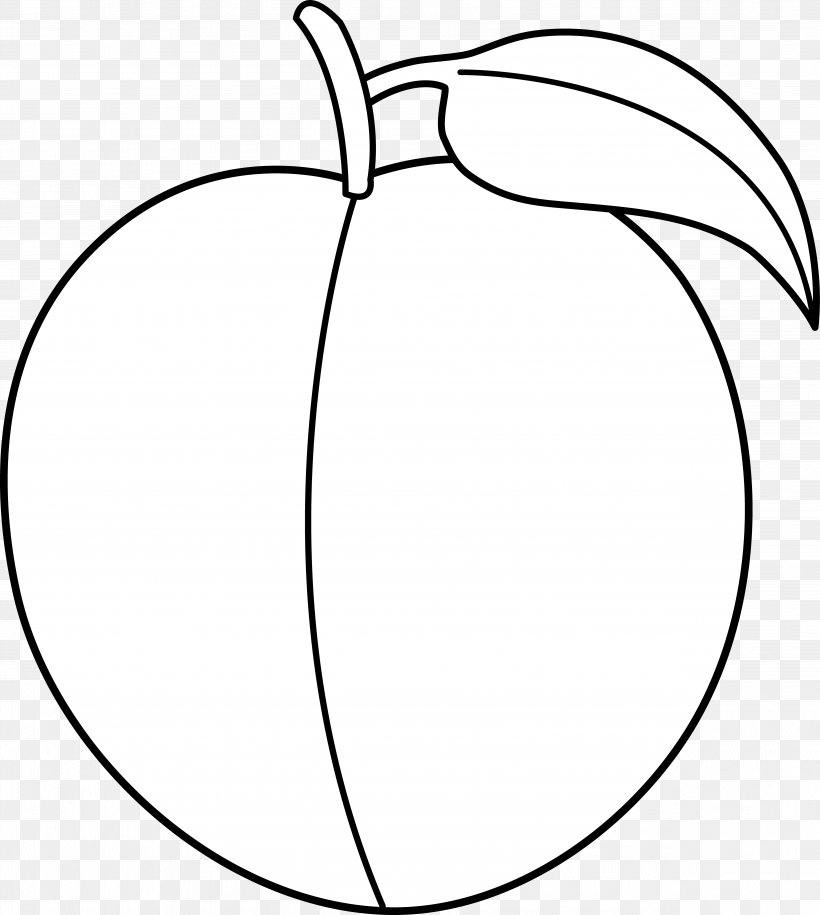 Black And White Peach Clip Art, PNG, 4911x5484px, White.