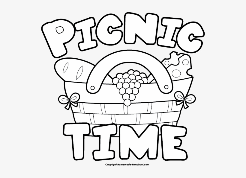 Clip Art Of Picnic Black And White.