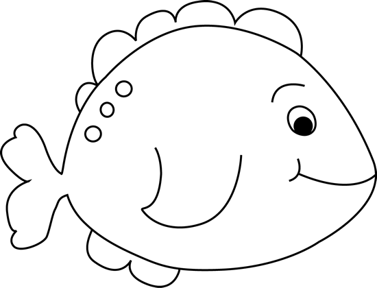 Black and White Little Fish Clip Art Image.