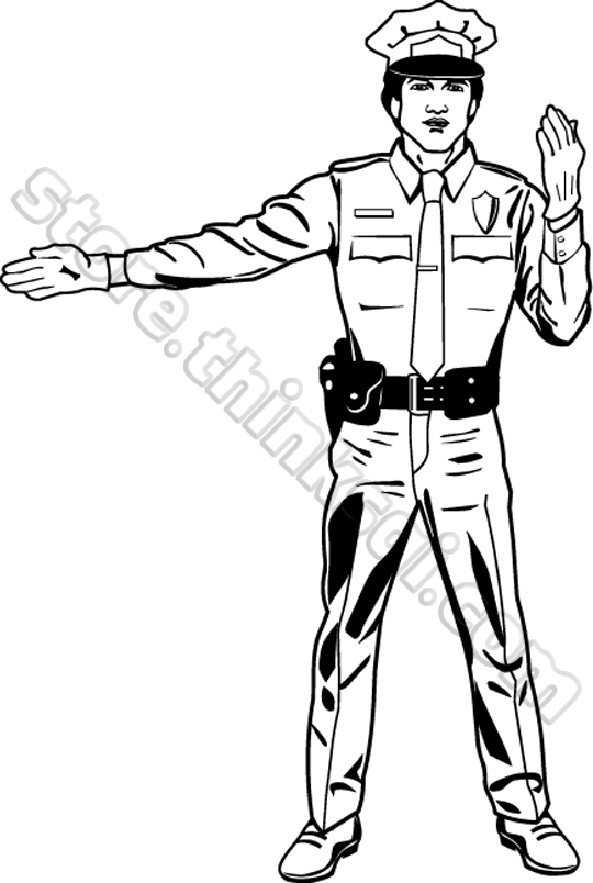 Traffic Policeman Clipart Black And White.