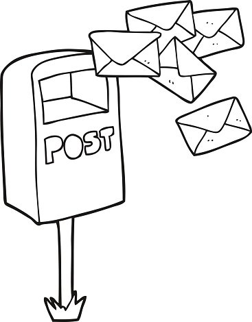 black and white cartoon post box Clipart Image.