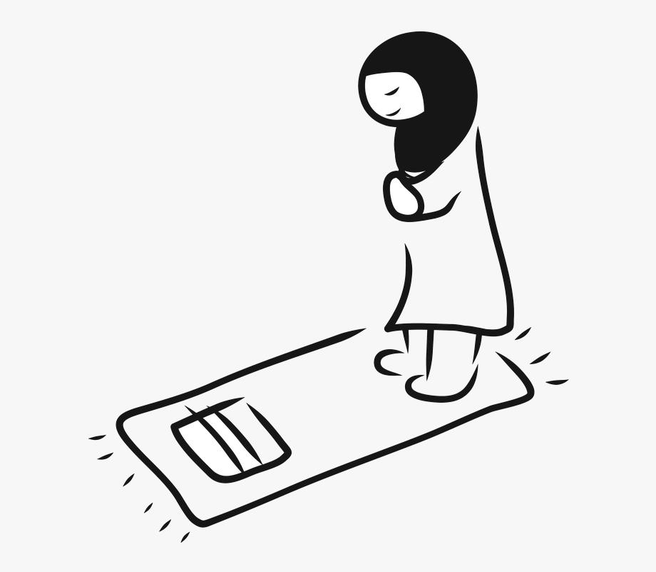 Muslim Praying Clipart Black And White , Transparent Cartoon.
