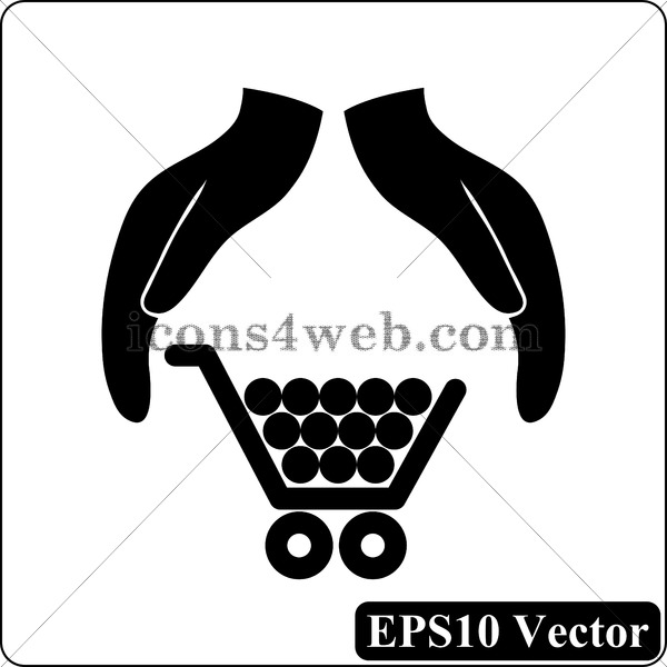 Consumer protection, protecting hands black icon. EPS10 vector..