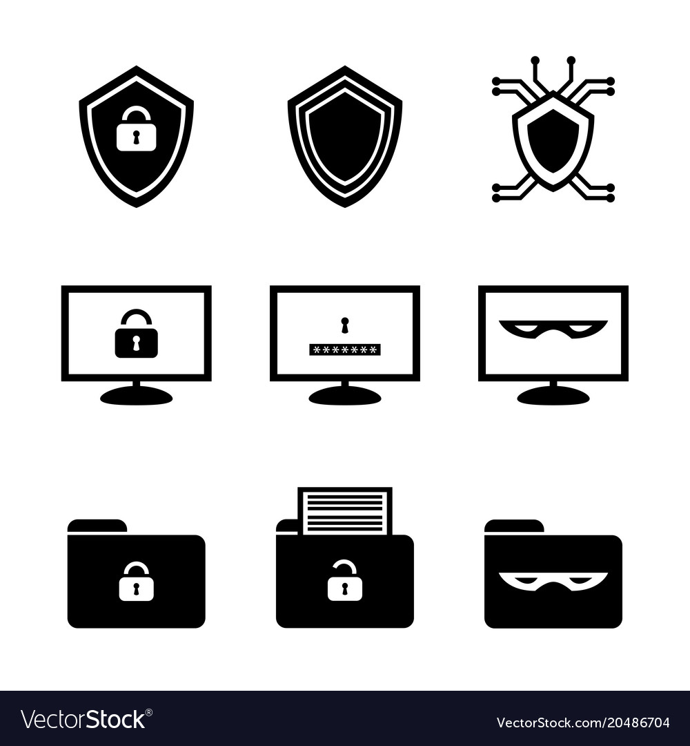 Black and white icon set of cybersecurity.