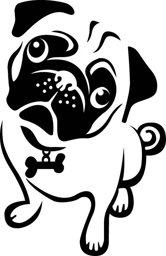 Pug Clipart Black And White.