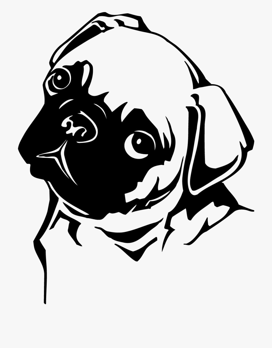 Pug Dog Wall Art Sticker.