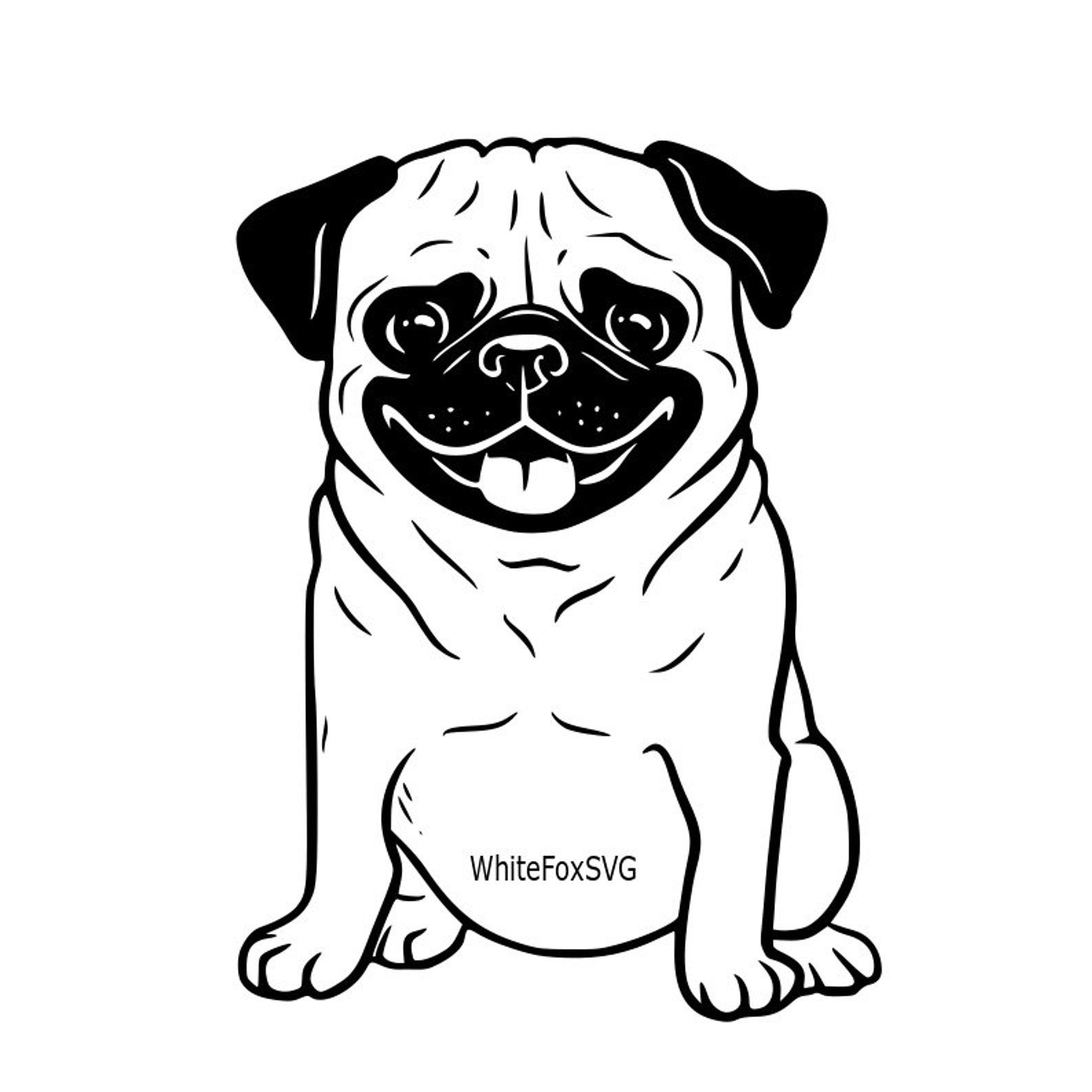 Funny cute adorable pug puppy smiling puppy SVG dog SVG.