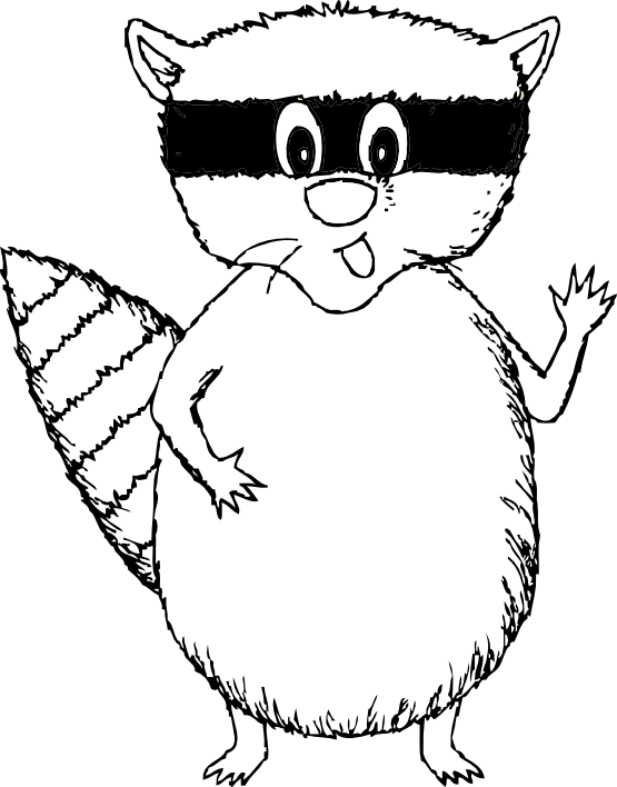 Download Free png Raccoon Black And White Clipart.