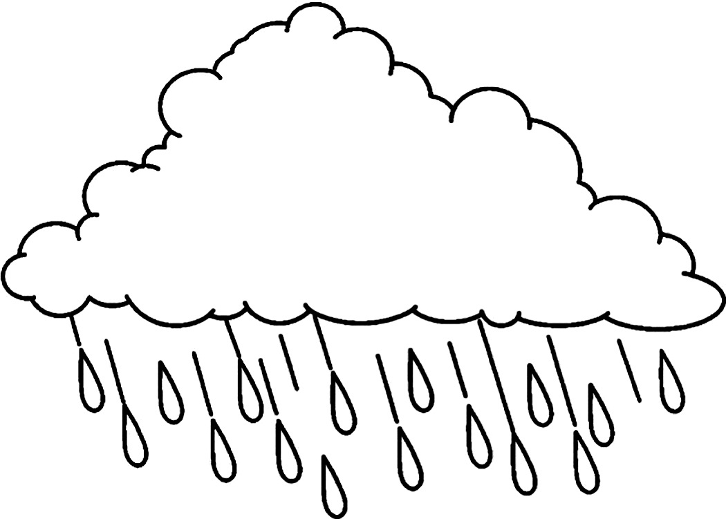 Black And White Rain Clipart.