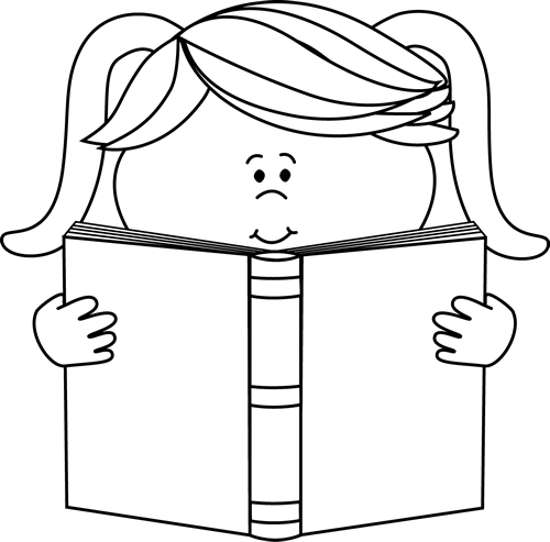 Black and White Little Girl Reading a Book.