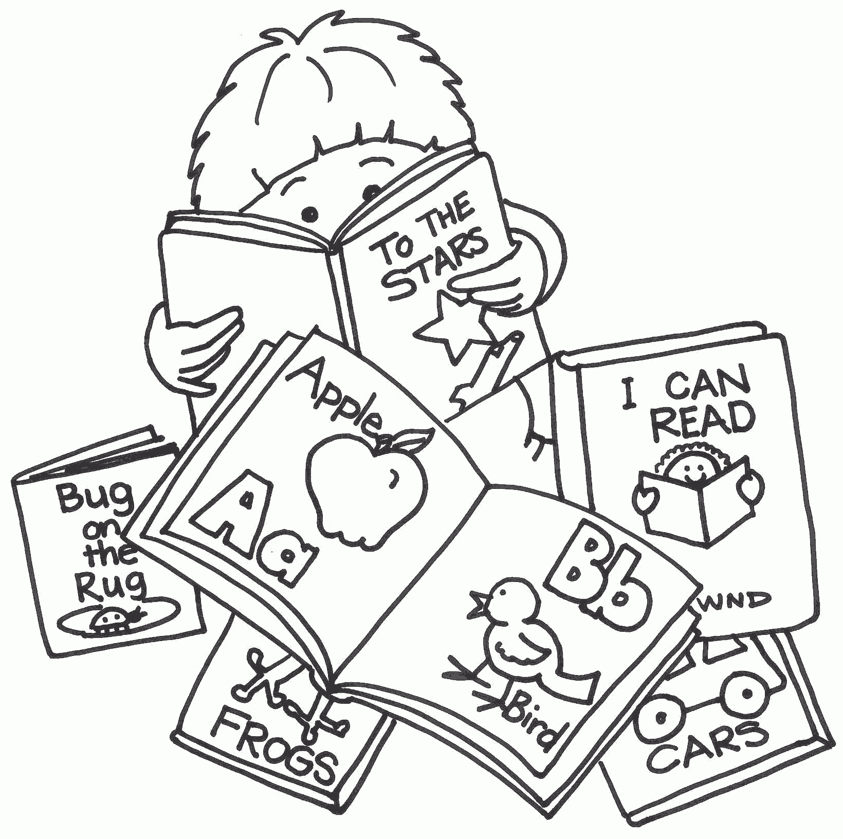 Child Reading Reading Book Black And White Clipart.