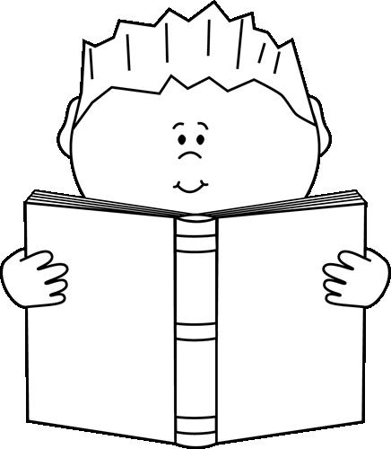 Reading a Book Clip Art Image.