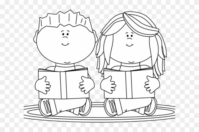 Students Reading Clipart Black And White, HD Png Download.