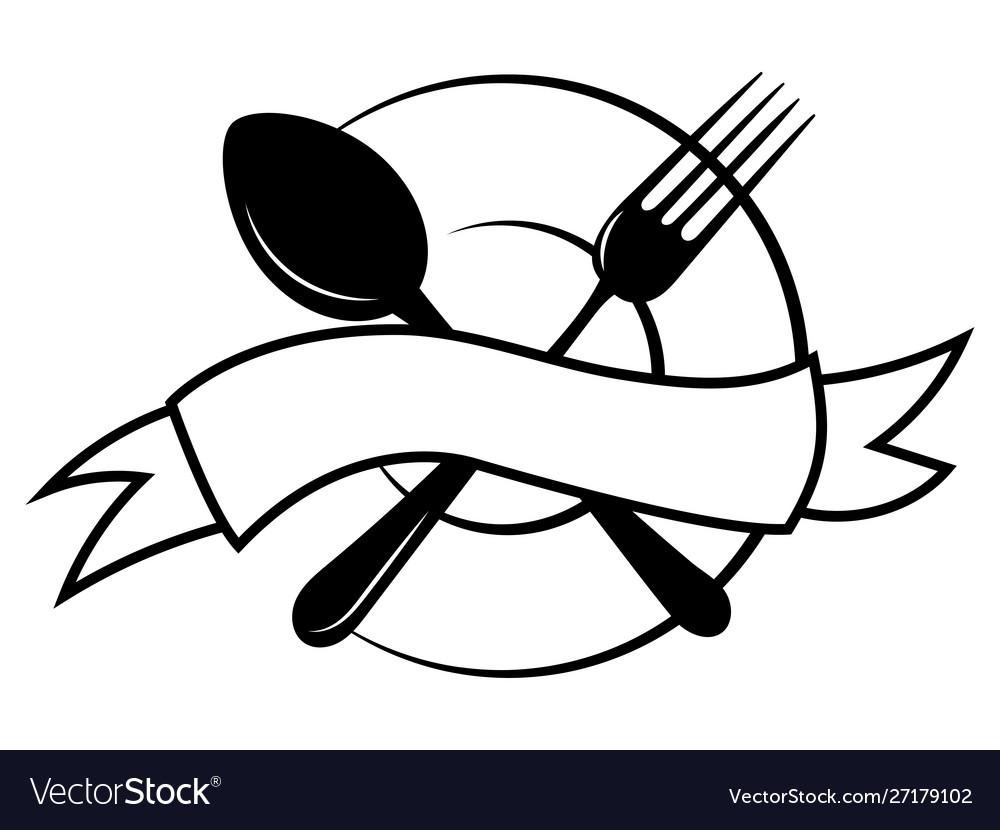 Emblem for restaurant black and white.