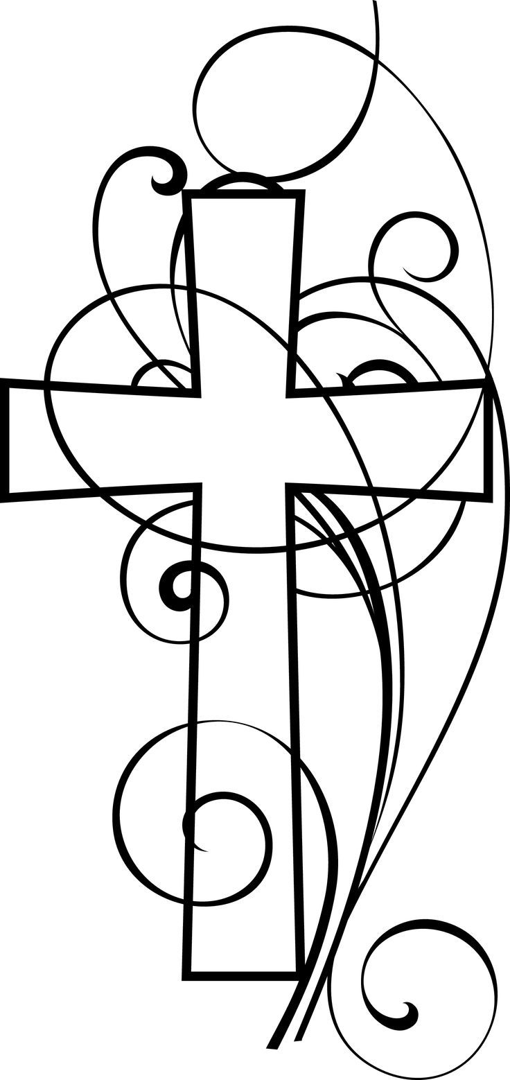Cross And Swirls Black and White Christian Clipart.
