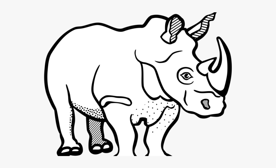 Drawn Rhino Clipart Black.