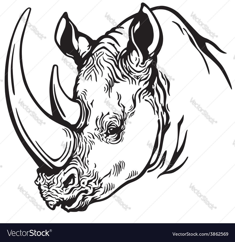 Head of rhino black white.
