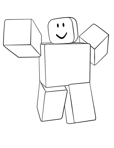 Roblox Noob Fight Render coloring page.