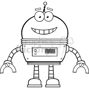 Royalty Free RF Clipart Illustration Black And White Smiling Robot Cartoon  Character clipart. Royalty.