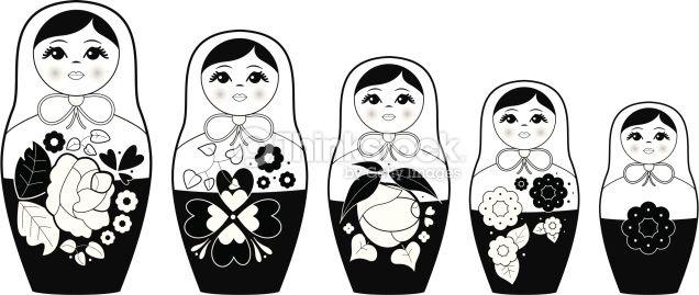 Black & white vector illustration of russian nesting dolls.