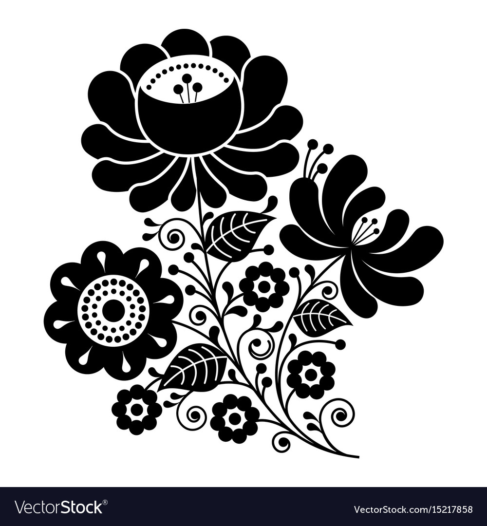 Russian design folk art black and white flowers.