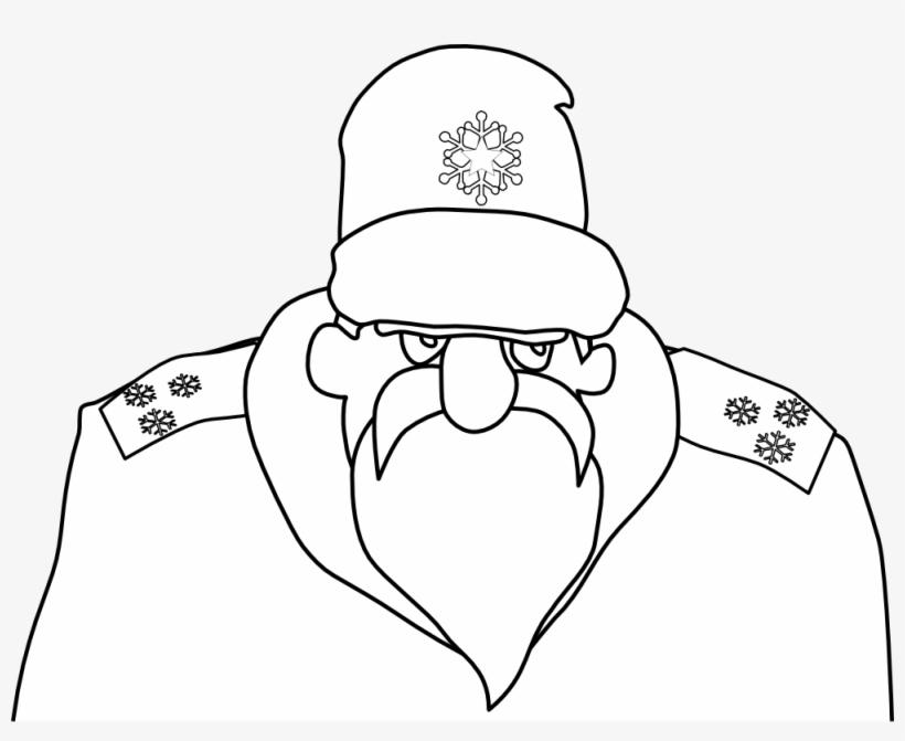 Colonel Frost Russian Military Santa Claus Black White.