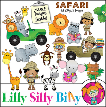 Safari Clipart Bundle. 85 BLACK AND WHITE & Color Images. {Lilly Silly  Billy}.