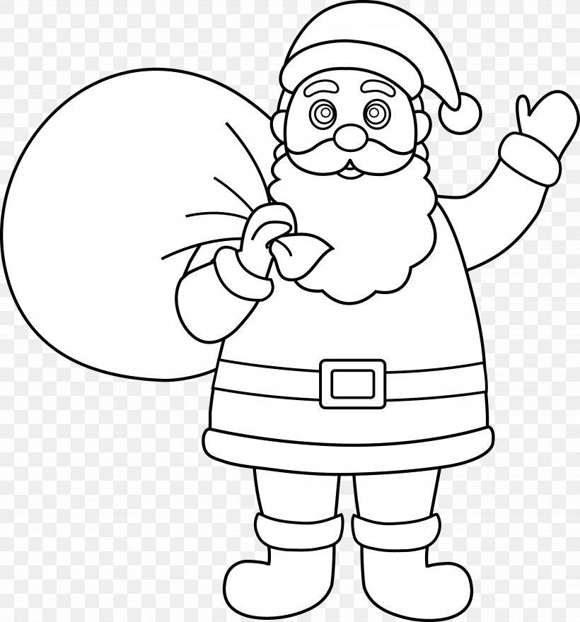 Santa Claus Reindeer Black And White Christmas Clip Art, PNG.
