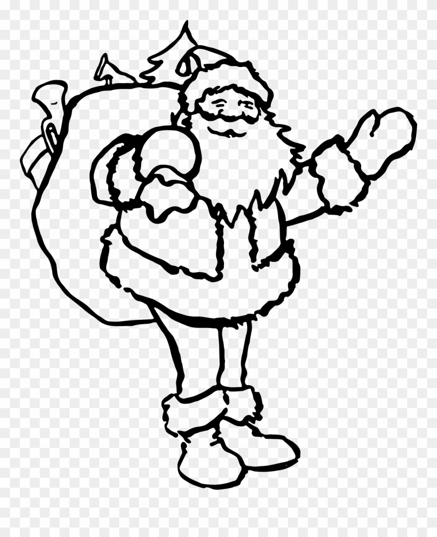 Santa Claus Drawing Black And White Christmas Coloring.