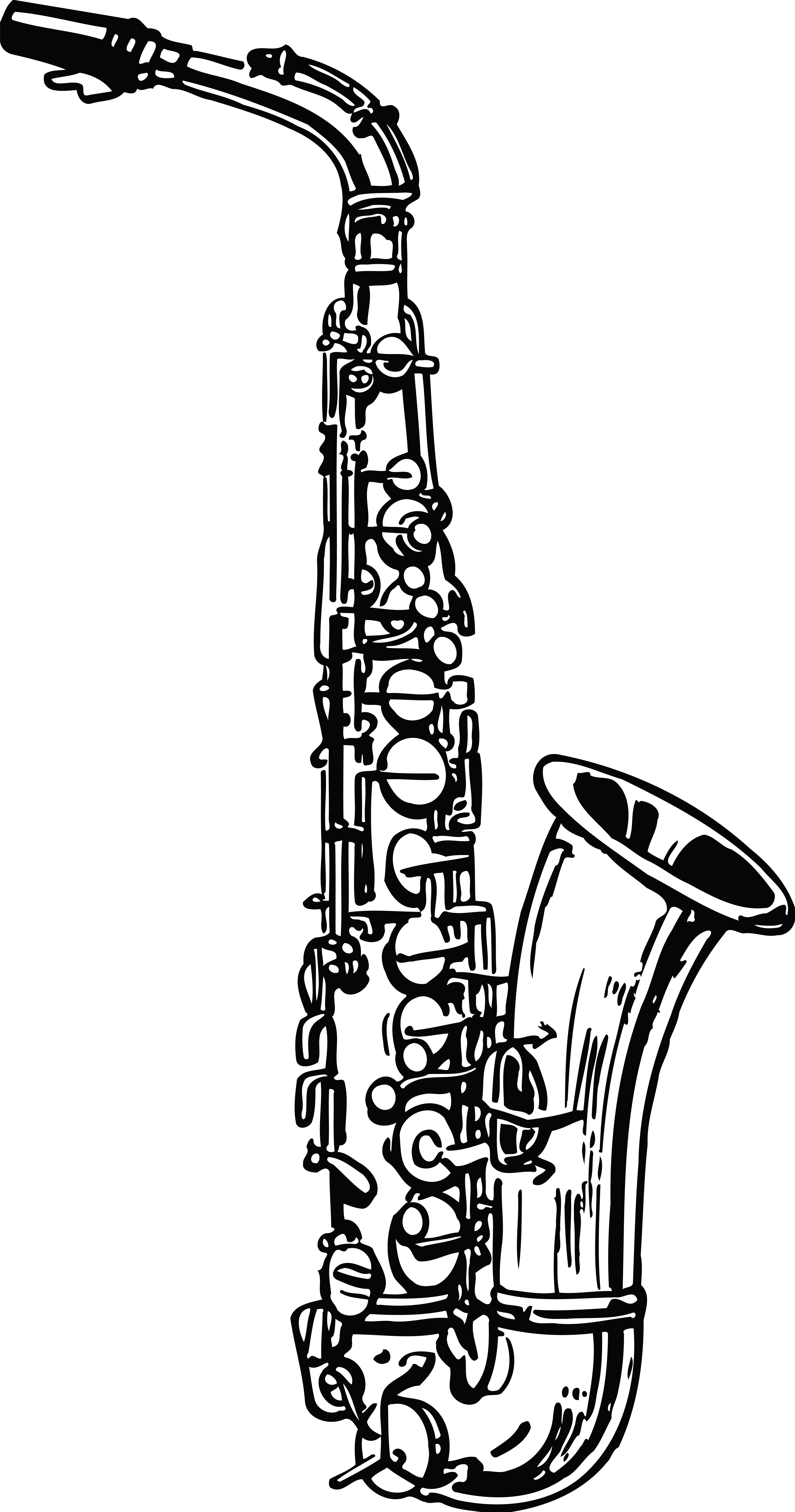 Saxophone Clipart Black And White.