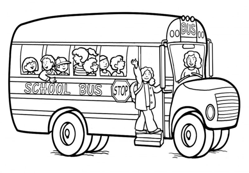 Black And White School Bus Clipart.