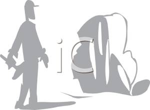 Greyscale Cartoon of a Sculptor Holding a Hammer.