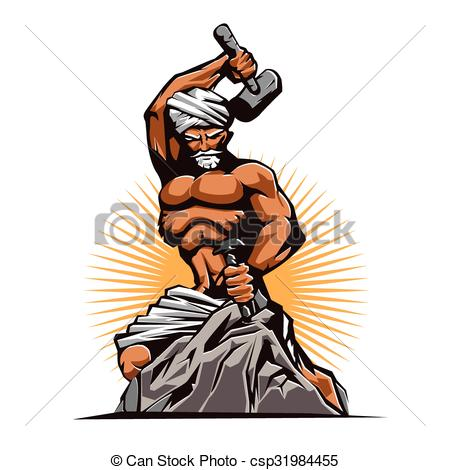 Clip Art Vector of hammer and chisel.