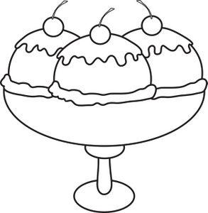 Ice Cream Shake Black and White Clipart.