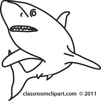 Shark black and white shark clip art 5.