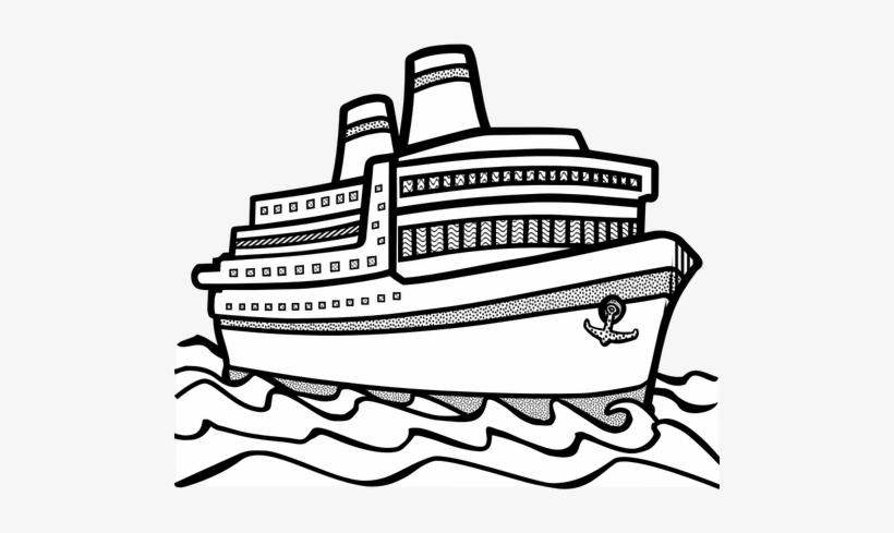 Cruise Ship Black And White Png, Transparent PNG, png.