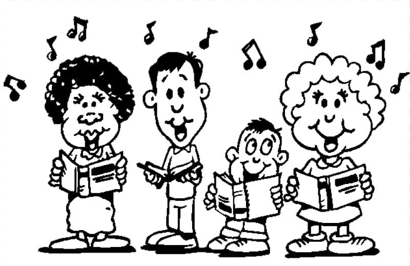 Singing Choir Black and white Song , Black Sing transparent.