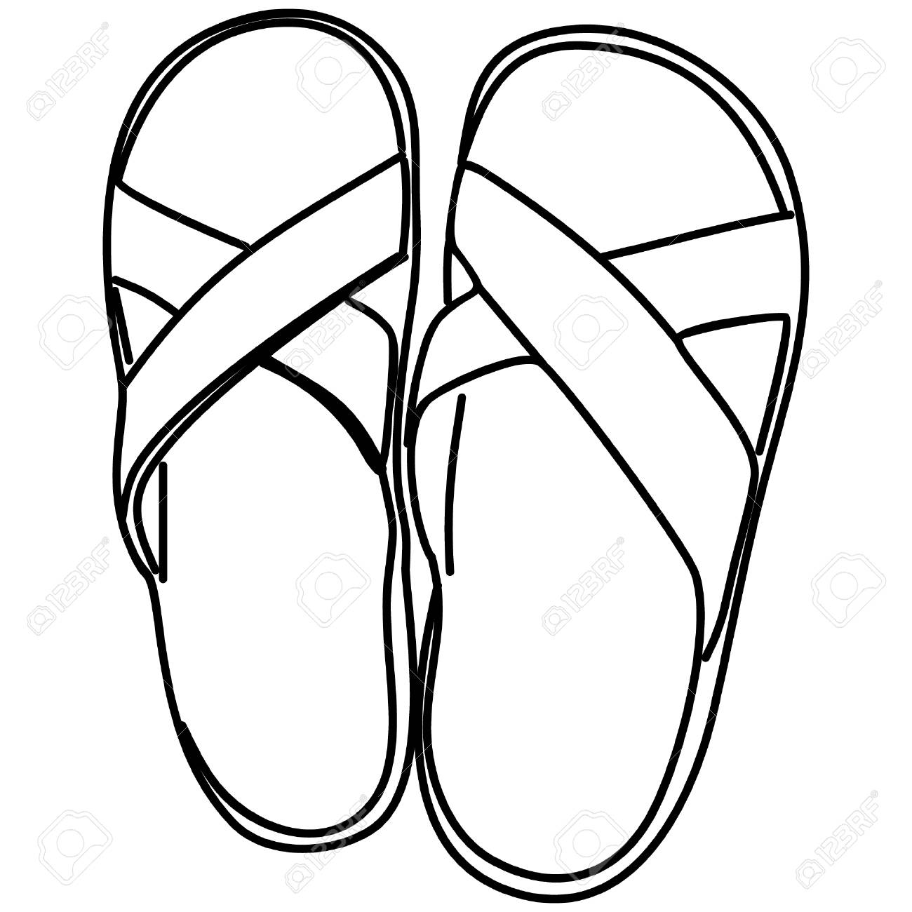 Slippers black and white clipart 6 » Clipart Station.