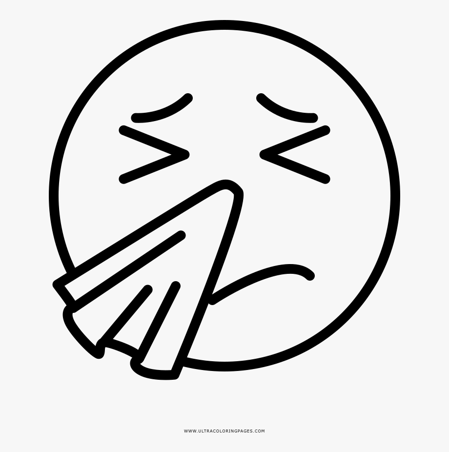 Sneezing Face Coloring Page.