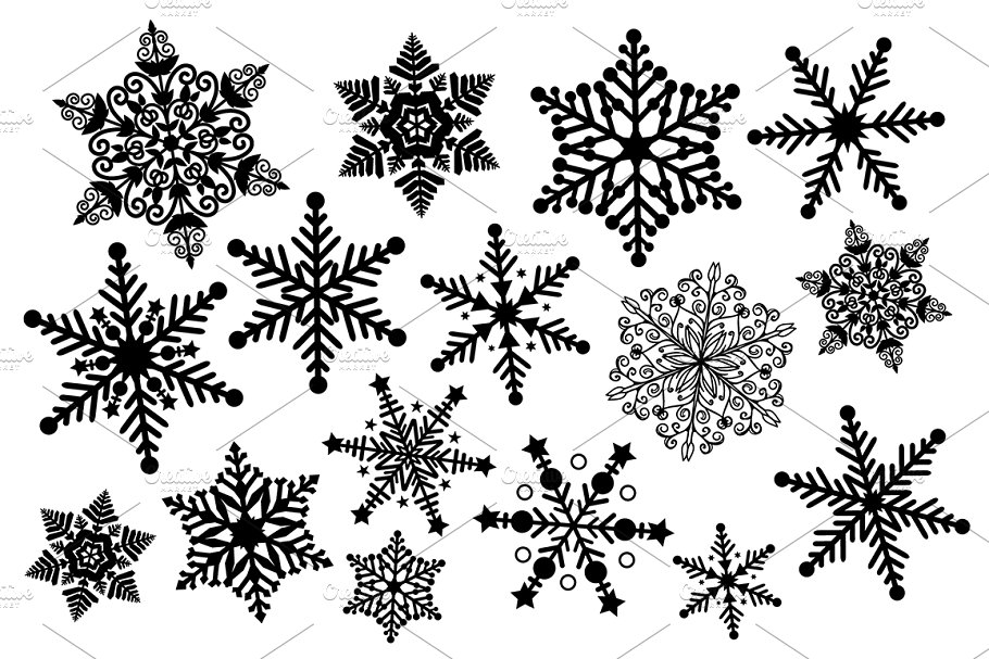 Black and White Snowflake Clipart.