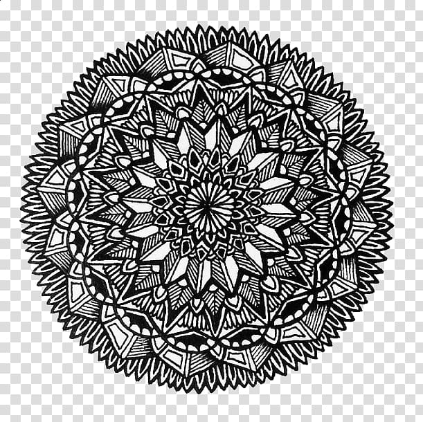 Black and white mandala artwork with black background.