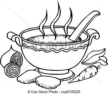 Vegetable Soup Clipart Black And White.