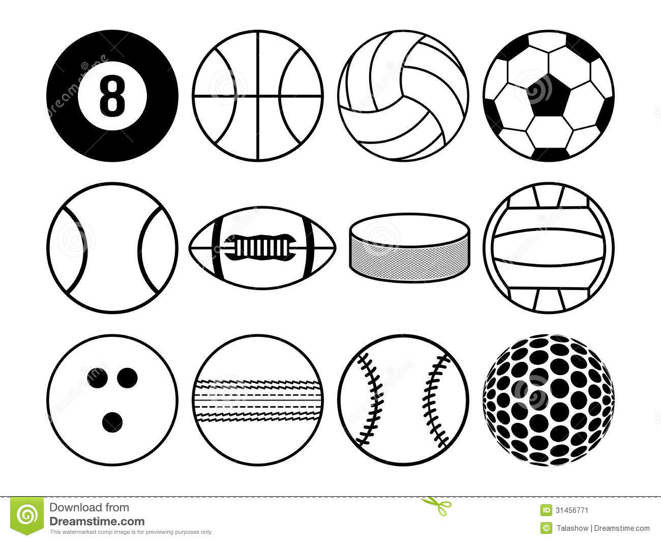 Sports Balls Clipart Black And White.