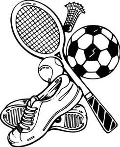 Black and white clip art of a school activities.