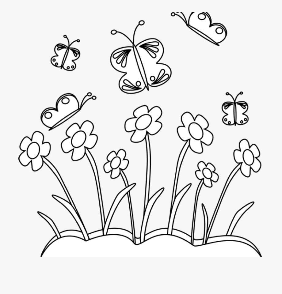 Spring Flowers Clipart Black And White.