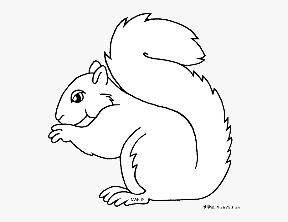 Clipart Squirrel Black And White.