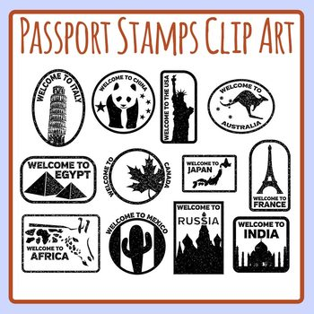 Passport Stamps in Color or Black and White Clip Art Set Commercial Use.